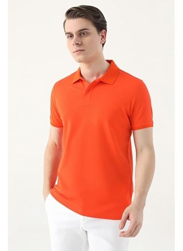 D'S Damat Regular Fitpike Dokulu T-Shirt Oranj